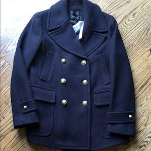 NWT J Crew size 10 Navy Pea Coat